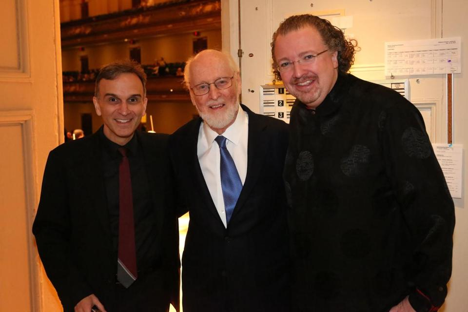 Violinist Gil Shaham with Boston Pops Laureate Conductor John Williams and conductor Stéphane Denève (Hilary Scott).jpg