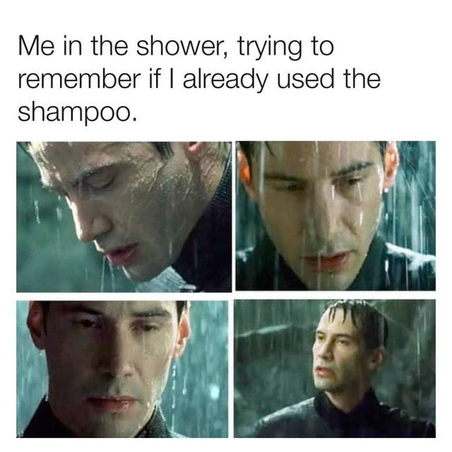 meme-about-forgetting-whether-you-used-shampoo-in-the-shower-keanu-reeves-the-matrix-neo-rain.jpg